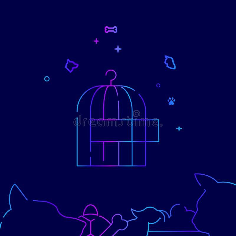 Kooi voor Vogels, Vector de Lijnpictogram van Birdcage, Illustratie op een Donkerblauwe Achtergrond Verwante Bodemgrens royalty-vrije illustratie