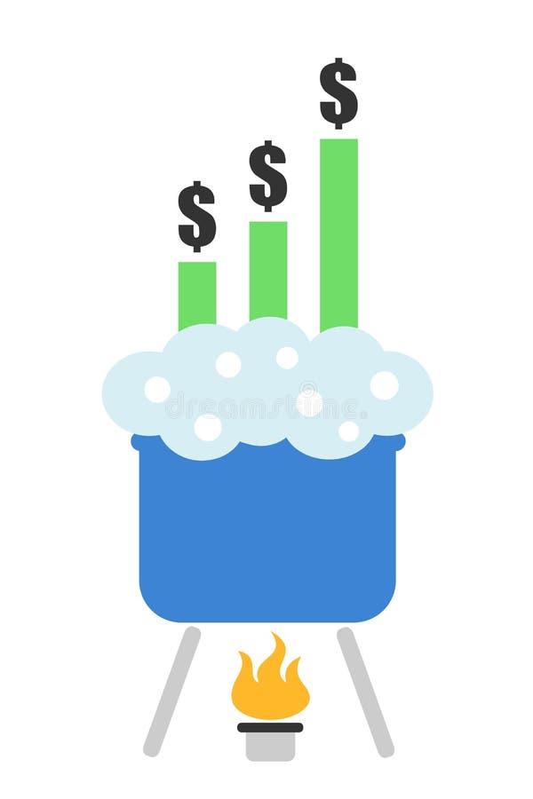 Kook de boeken - idiomatische uitdrukking van frauduleuze wijziging en manipulatie van financiële en economische grafiek royalty-vrije illustratie