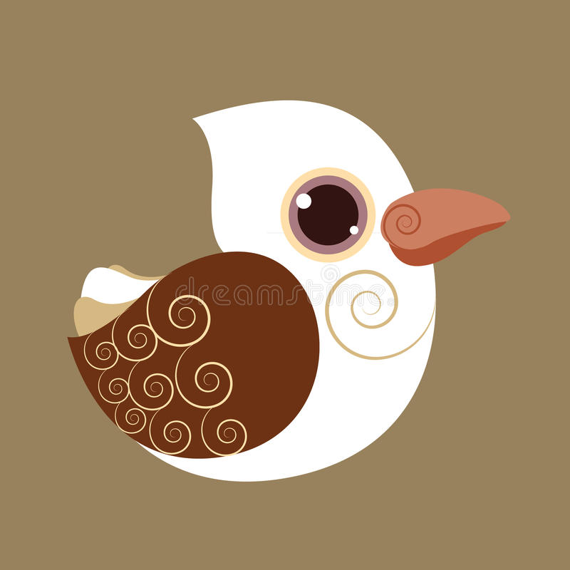 Kookabarra śliczny ptasi abstrakcjonistyczny prehistoryczny kolor ilustracja wektor