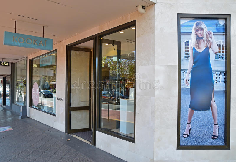 Kookai store next to a busy road of a high street. Kookai is a French fashion label founded in 1983 by 3 inviduals namely Jean-Loiu Tepper, Jacques Nataf and royalty free stock images