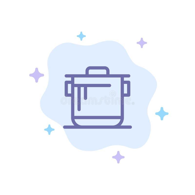 Kooktoestel, Keuken, Rijst, Cook Blue Icon op Abstracte Wolkenachtergrond stock illustratie