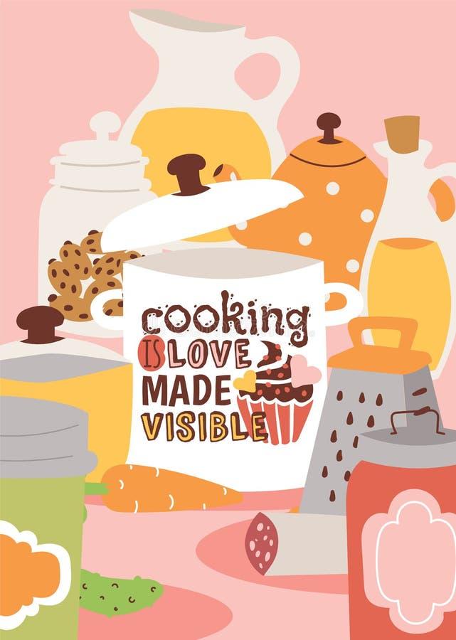 Kooktoestellen en de vectorillustratie van het keukenwerktuig Het koken is liefde gemaakte zichtbare affiche Kruik met sap, koekj royalty-vrije illustratie