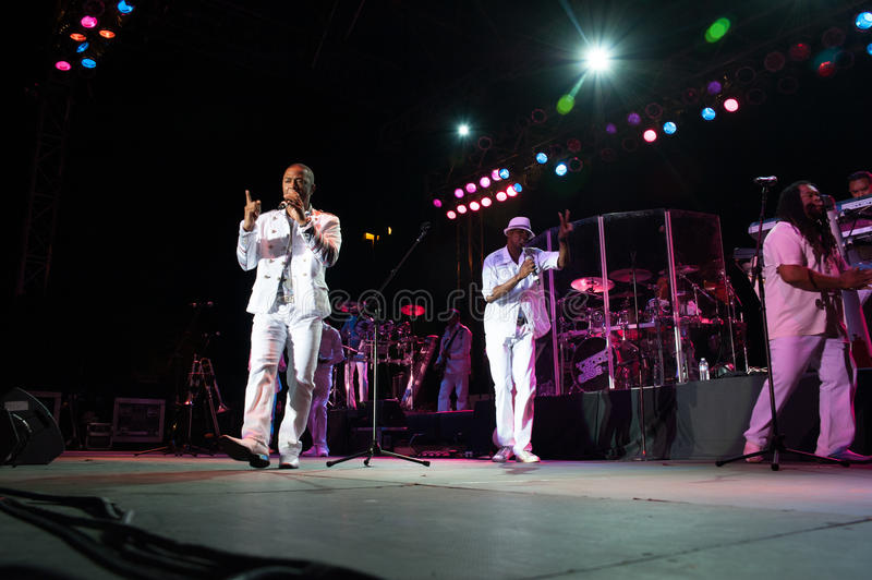 Kool and the Gang. CITRUS HEIGHTS, CA – September 8: Kool and the Gang performs at Sunrise Marketplace in Citrus Heights, California on September 8th stock photos