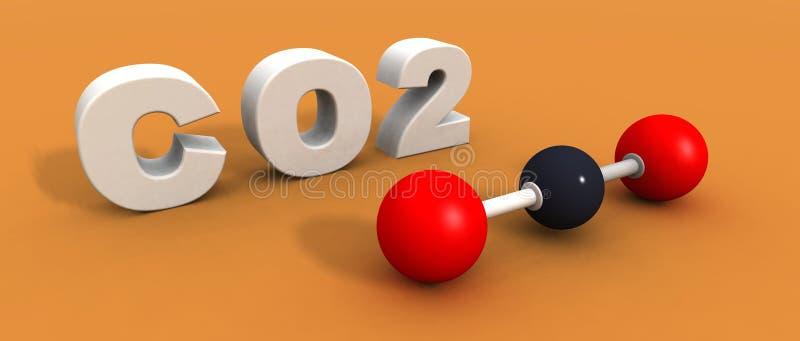 Kooldioxidemolecule royalty-vrije illustratie