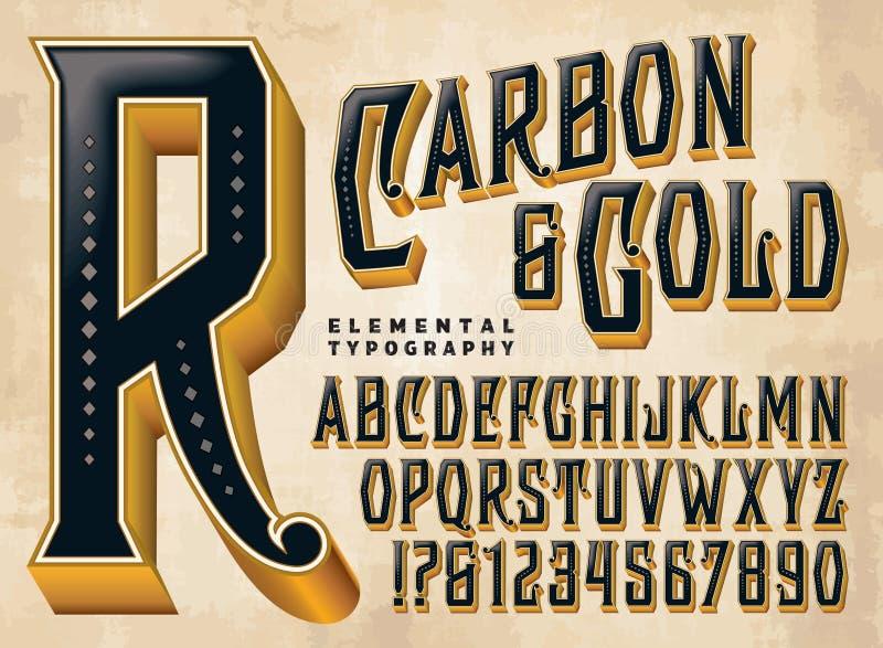 Koolstof & Gouden Douanealfabet vector illustratie