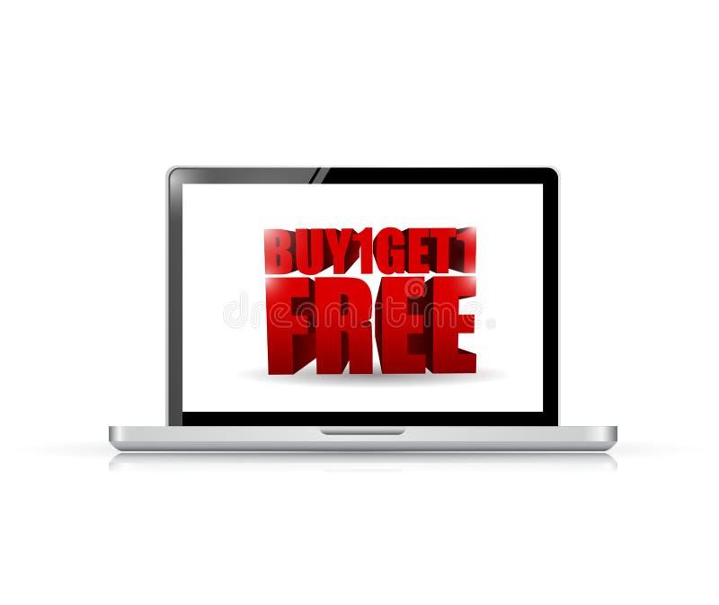 Koop één en krijg één laptop illustratie stock illustratie