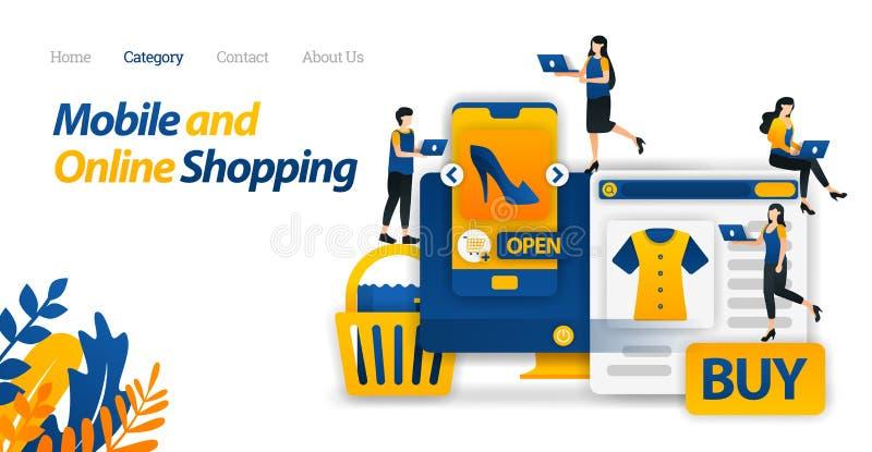 Koop Behoeften en Levensstijlen slechts met het Mobiele en Online Winkelen of E-commerce Vectorillustratie, Vlakke Pictogramstijl royalty-vrije illustratie