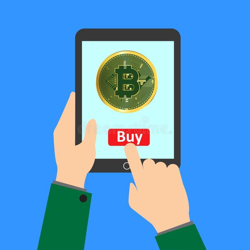 Koop bitcoin, geldtransactie, mobiel bankwezen en mobiele betaling royalty-vrije illustratie
