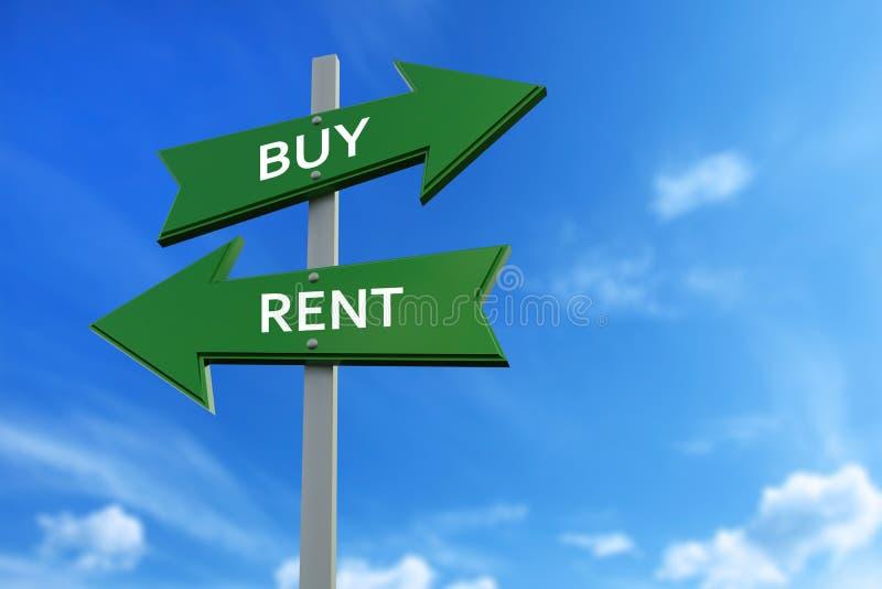 Koop en huur pijlen tegenover richtingen vector illustratie