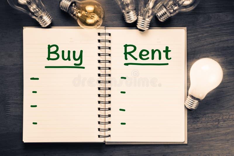 Koop en huur Vergelijking royalty-vrije stock foto's