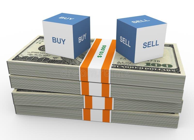 Koop en verkoop stock illustratie