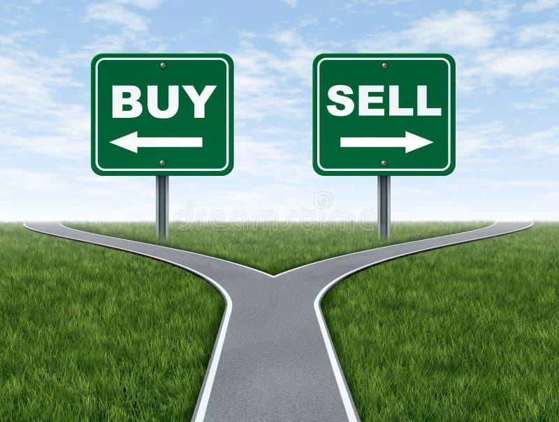Koop en verkoop de kruispunten van het besluitdilemma stock illustratie