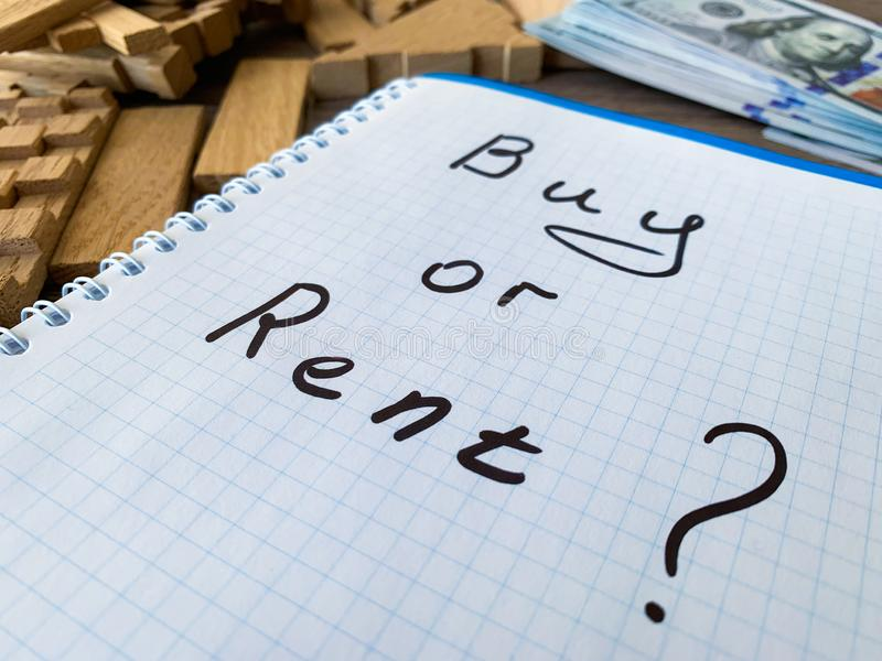 Koop of huur huis Concept 6 van onroerende goederen stock afbeelding