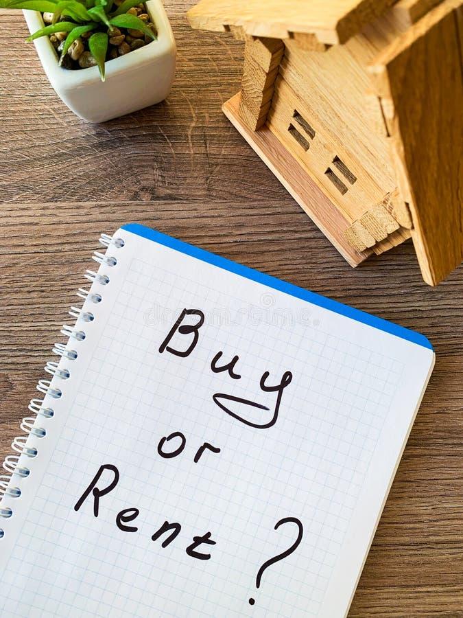 Koop of huur huis Concept 6 van onroerende goederen royalty-vrije stock afbeeldingen