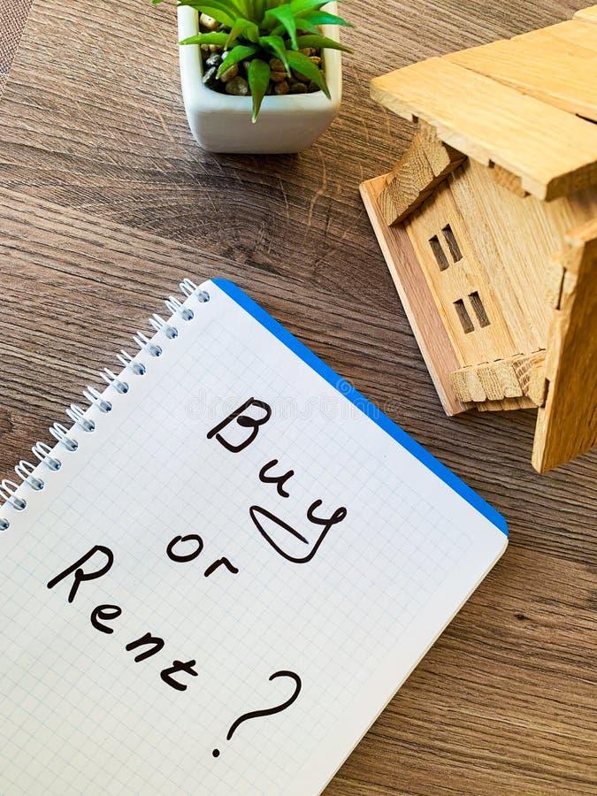 Koop of huur huis Concept 6 van onroerende goederen stock fotografie