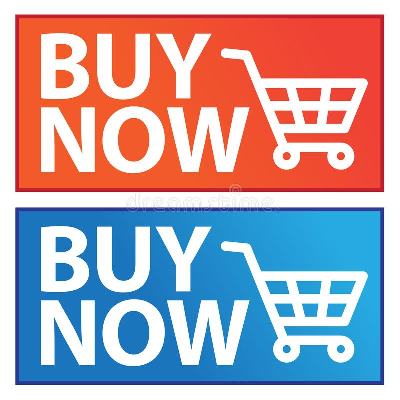 Koop knoop nu blauwe en oranje pictogrammen stock illustratie