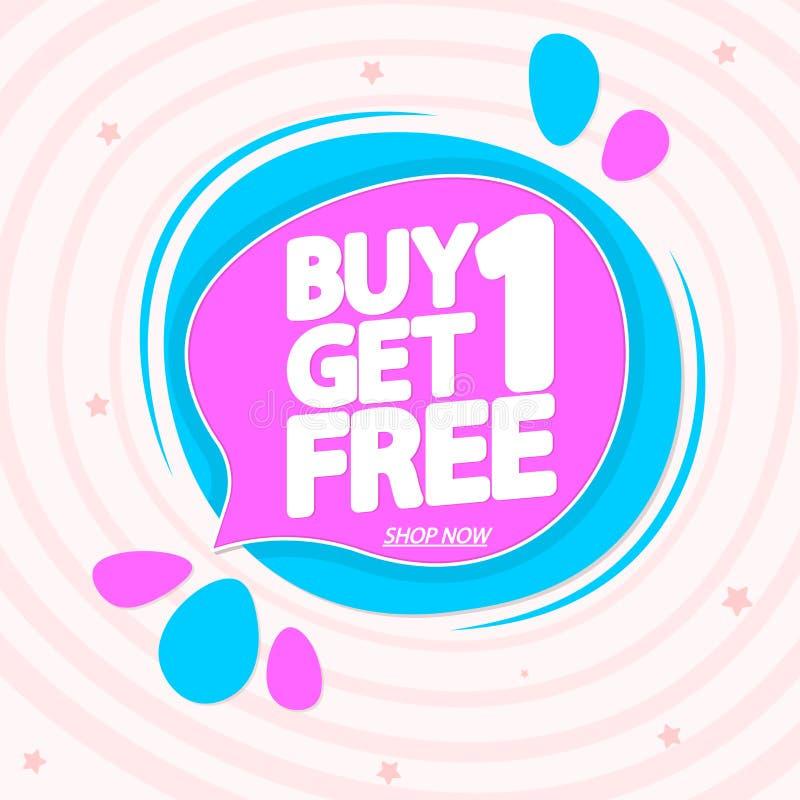 Koop 1 krijgen 1 Vrij, de ontwerpsjabloon van de verkoopmarkering, de bellenbanner van de kortingstoespraak, app pictogram, vecto royalty-vrije stock foto