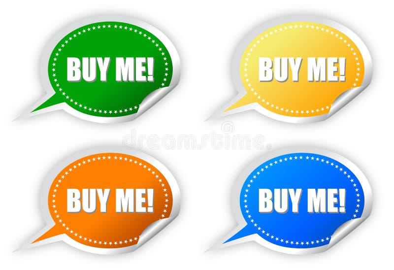 Koop me stickers royalty-vrije illustratie