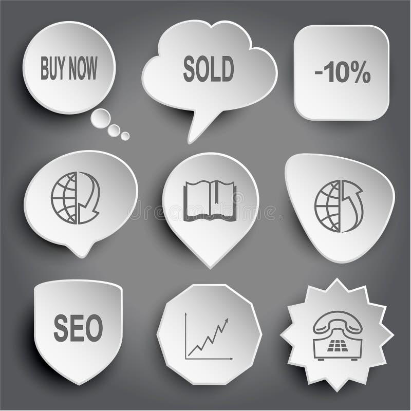 Koop nu, neer verkocht, -10%, bol en serie, boek, bol en serie vector illustratie