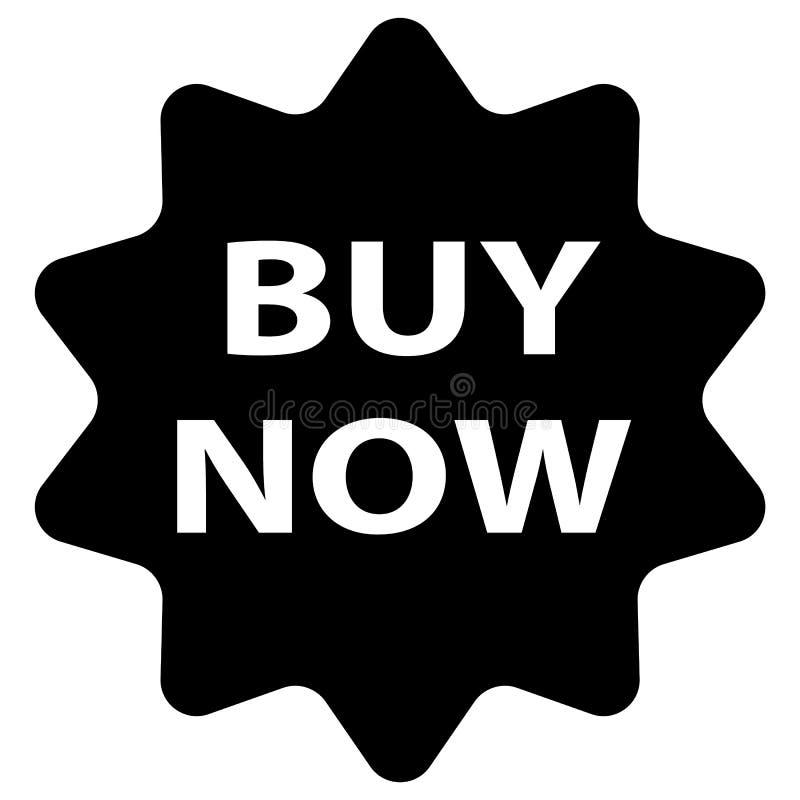 Koop nu pictogram op witte achtergrond Vlakke stijl Koop nu teken stock illustratie