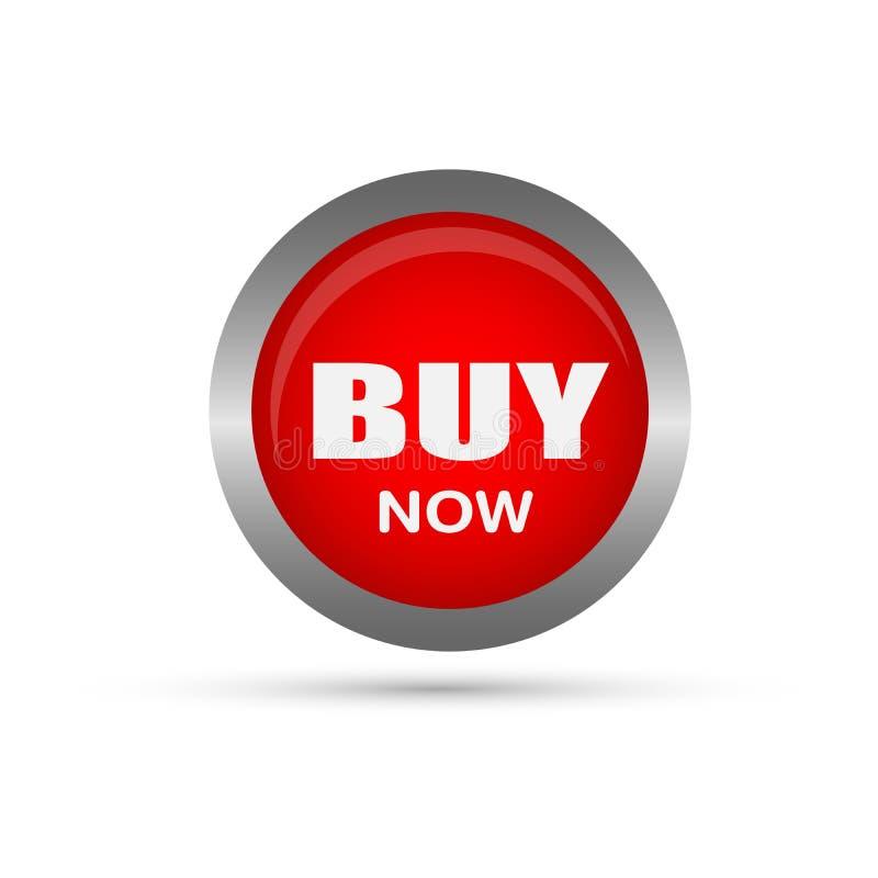 Koop nu verkoopknoop in rood op witte achtergrond royalty-vrije illustratie
