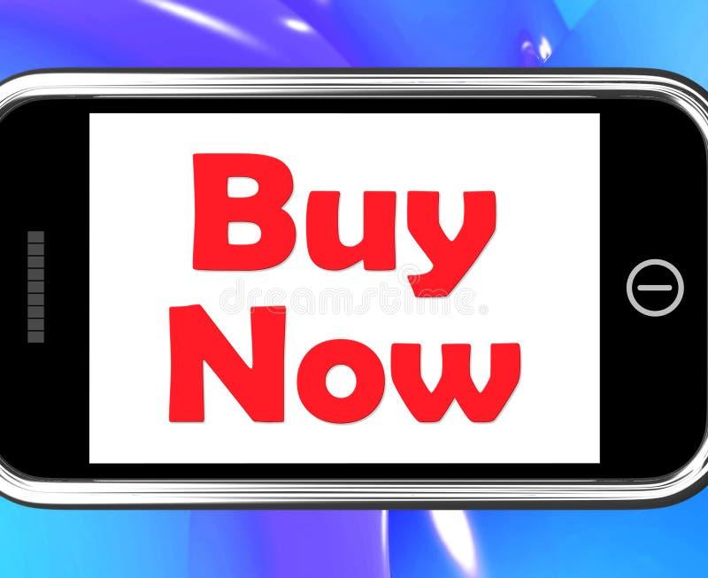 Koop op Telefoon toont nu het Kopen en online het Winkelen vector illustratie