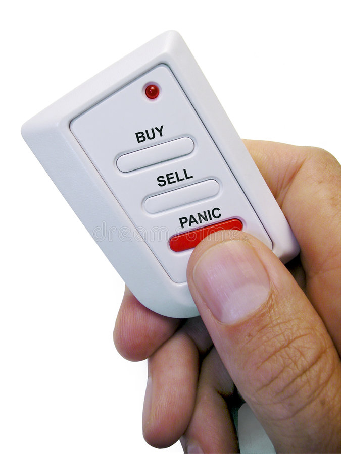 Koop-verkoop of Paniek royalty-vrije stock afbeelding