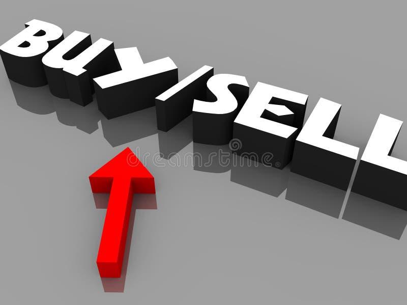 Koop-verkoop tekens stock illustratie