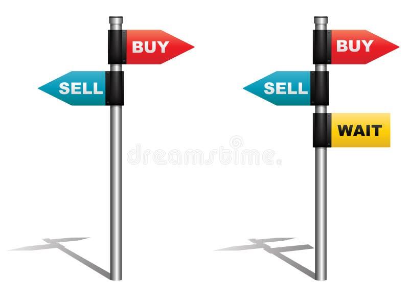 Koop-verkoop of wacht stock illustratie