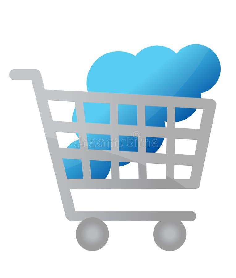 Koop wolk het conceptenillustratie van de gegevensverwerkingsdienst stock illustratie
