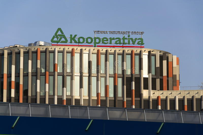Kooperativa - Vienna Insurance group logo on the Main Point Karlin building of the Czech headquarters on March 31, 2016 in stock images