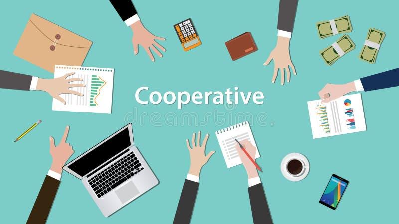 Kooperative Konzeptdiskussionsillustration mit Schreibarbeiten, Geld, Notizbuch auf Tabelle lizenzfreie abbildung