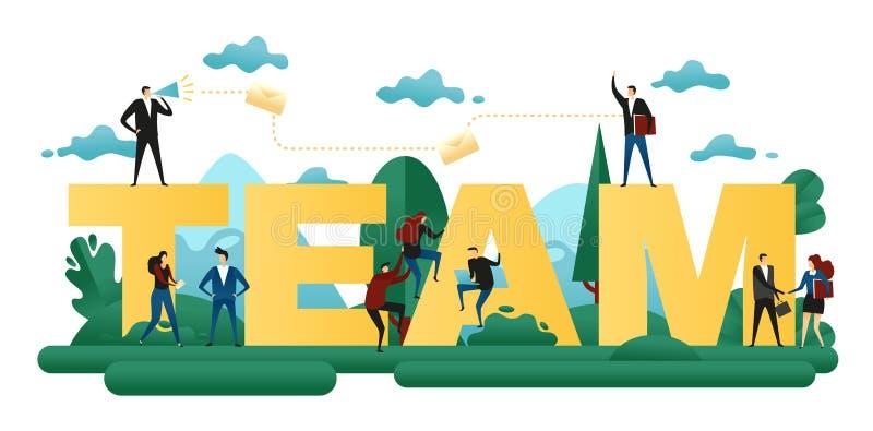 Kooperative Teamwork Büro-Leute errichten zusammen Wort-Team Abstraktes Konzept- des Entwurfesgeschäfts-Projekt Auch im corel abg vektor abbildung