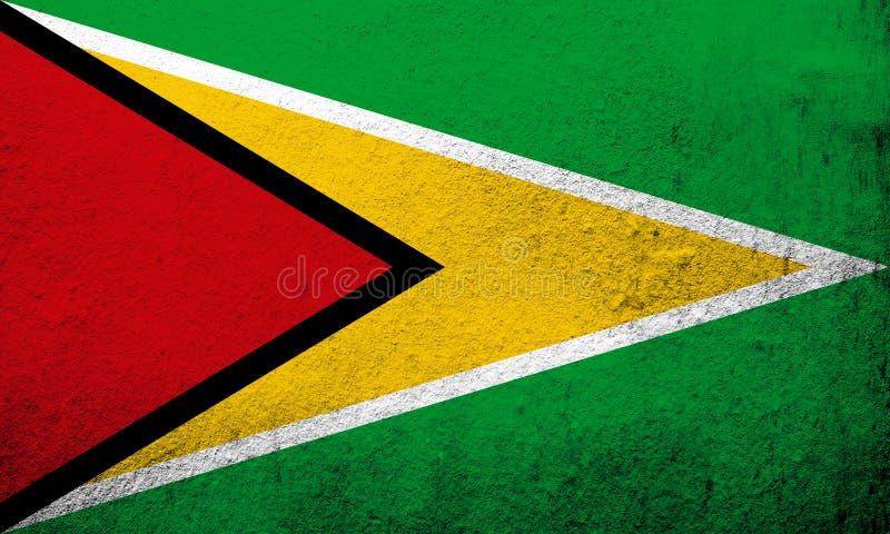 Kooperatywna republika Guyana flaga państowowa «Złoty grot « Grunge tło royalty ilustracja