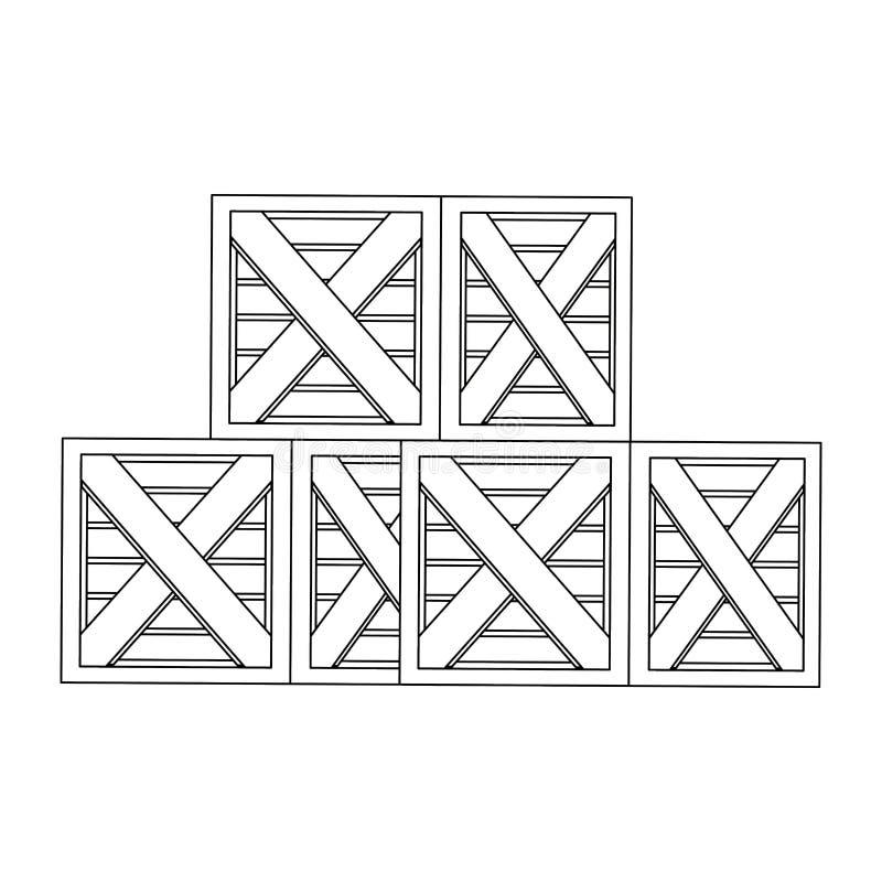 Koopwaar houten dozen die omhoog in zwart-wit worden opgestapeld royalty-vrije illustratie