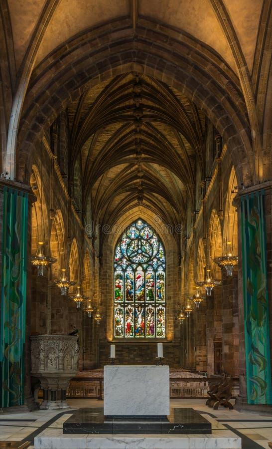 Koor bij St Giles Cathedral, Edinburgh, Schotland, het UK stock foto's