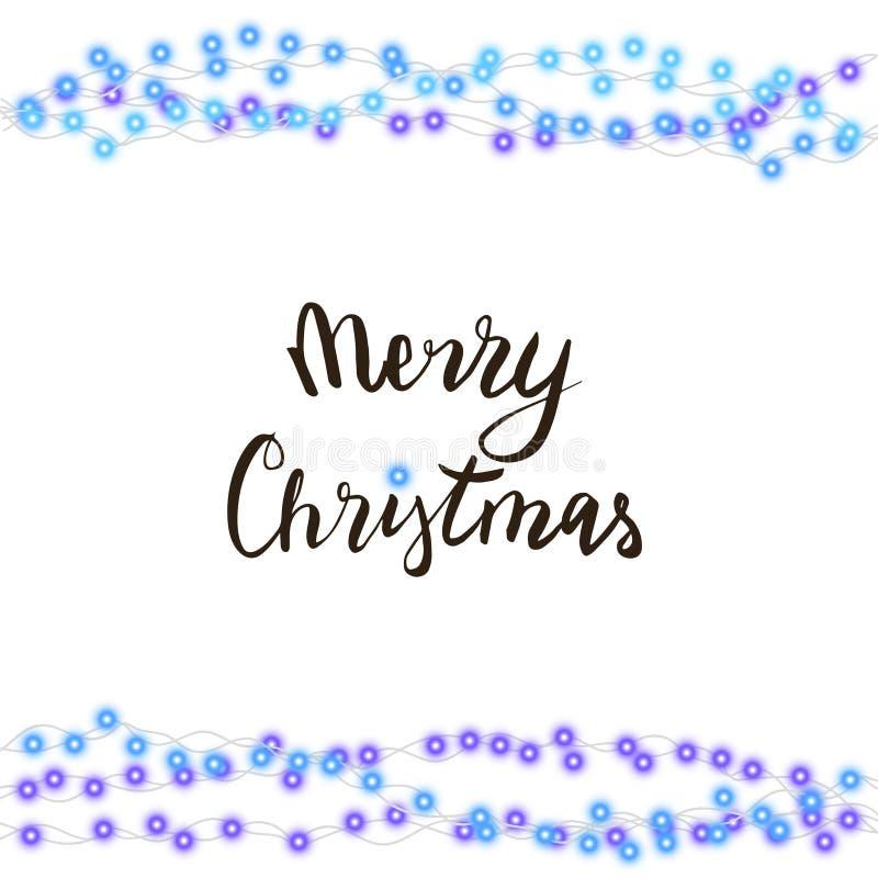 Koord blauwe die slinger en van letters voorzien op witte achtergrond wordt geïsoleerd Vectorillustratie van vrolijke Kerstmis, d vector illustratie