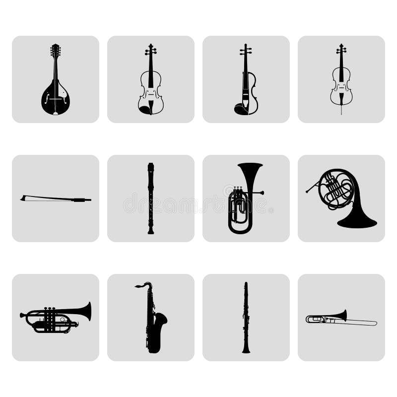 Koord en wind muzikale geplaatste instrumenten eenvoudige pictogrammen vector illustratie