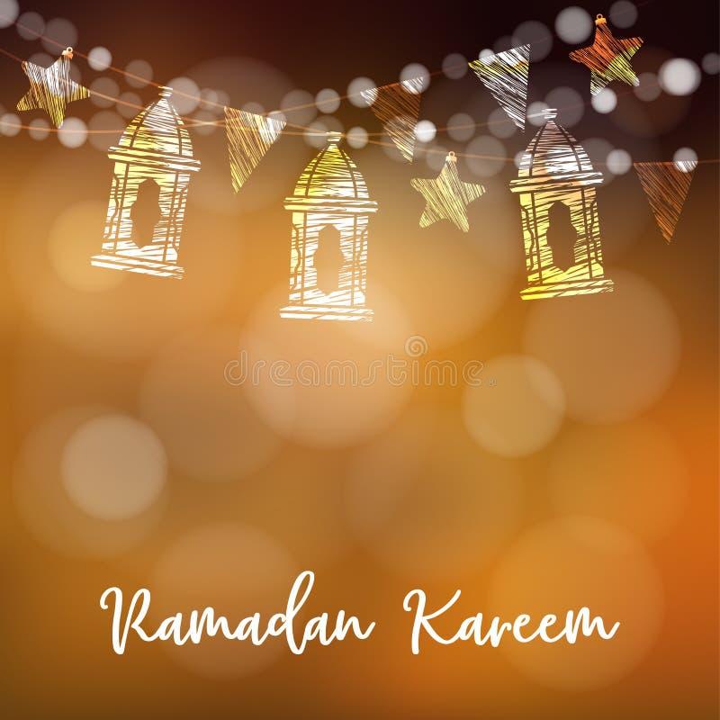 Koord van Arabische lantaarns, vlaggen, schitterende lichten en sterren Moderne feestelijke decoratieve vage vectorillustratie vector illustratie