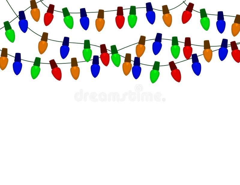 Koord van de gloeilampen van Kleurenkerstmis op wit worden geïsoleerd dat vector illustratie
