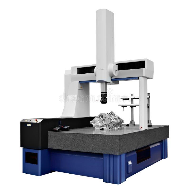 Koordinaten som mäter maskin som CMM isoleras på en vit bakgrund royaltyfri fotografi