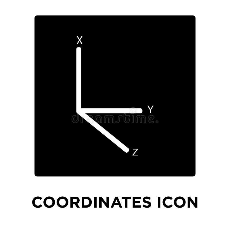 Koordiniert den Ikonenvektor, der auf weißem Hintergrund, Logo conce lokalisiert wird stock abbildung