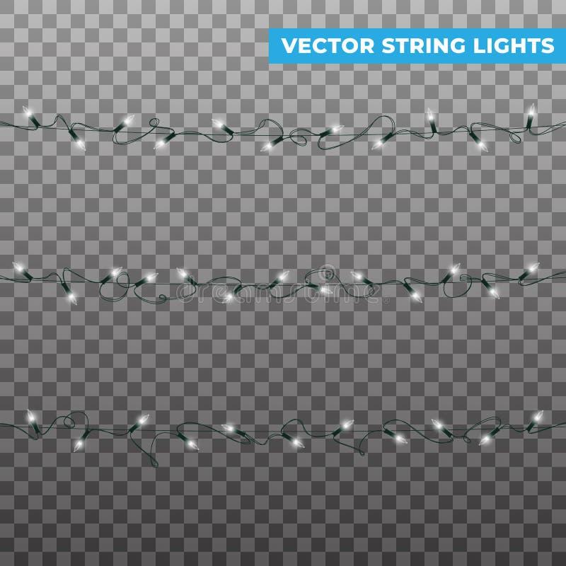 koordlichten Geïsoleerde realistische vectorkerstmisslingers Het gloeien witte lichteffecten voor de winternieuwjaar en royalty-vrije illustratie