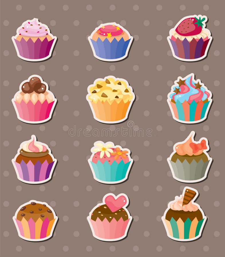 Kop-cake stickers royalty-vrije illustratie