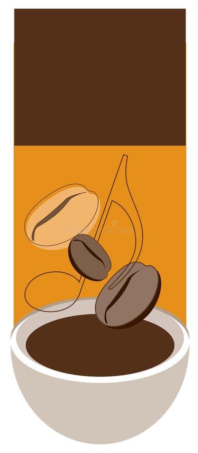Kop, coffe bonen en nota stock illustratie