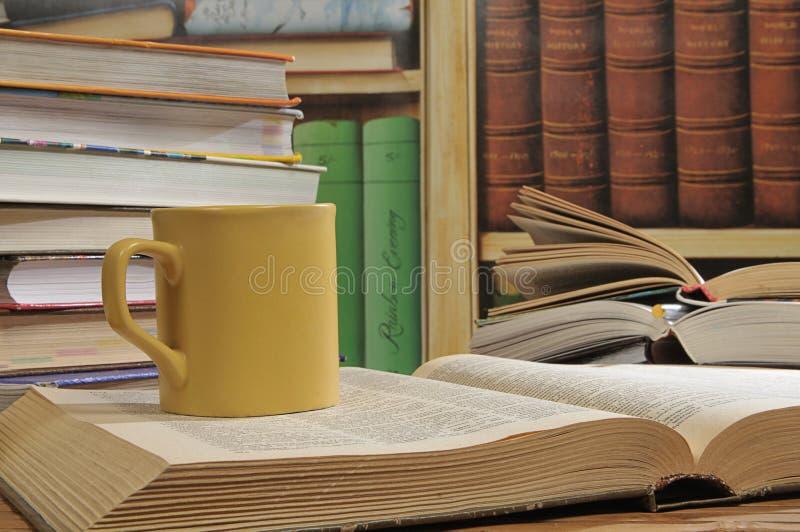 Kop en boeken stock afbeeldingen
