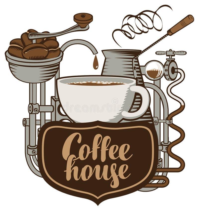 Kop en koffiemachine in retro vector illustratie