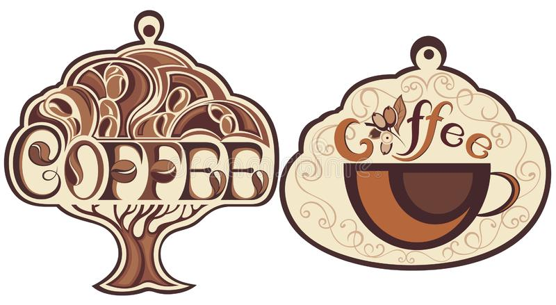 Kop koffieicos op wit royalty-vrije illustratie