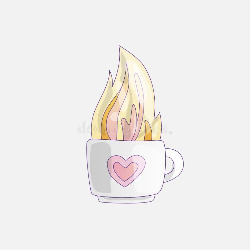Kop met hete thee, vectorillustratie Mok van hete drank, beeldverhaalpictogram Hete thee of koffie, leuk geïsoleerd beeldverhaalp vector illustratie