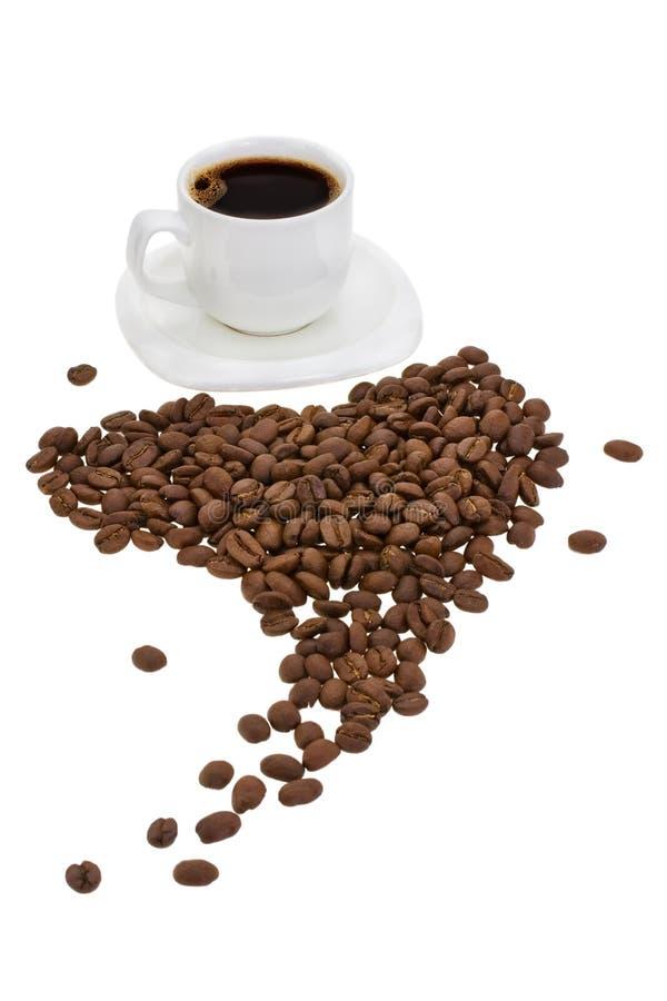 Kop met koffie en korrel royalty-vrije stock afbeelding